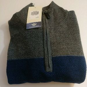 NWT Dockers Qtr Zip Mock Neck LS Pullover Sweater